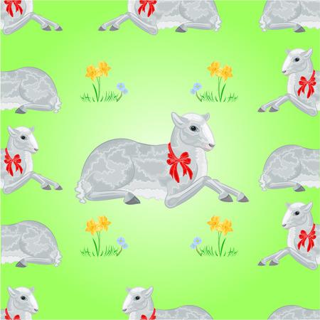 pasen schaap: Pasen lam en narcis naadloze textuur Pasen achtergrond vector illustratie