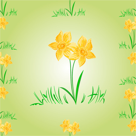 daffodil: Daffodil Easter flower seamless texture Easter background vector illustration