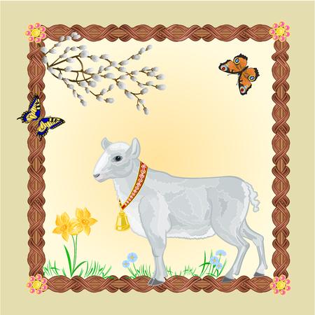 pasen schaap: Pasen Lam met vlinders en Pussycats frame plaats voor tekst vector illustratie