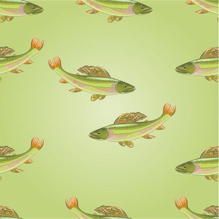 carnivore: Seamless  texture salmon grayling carnivore jumps vector illustration