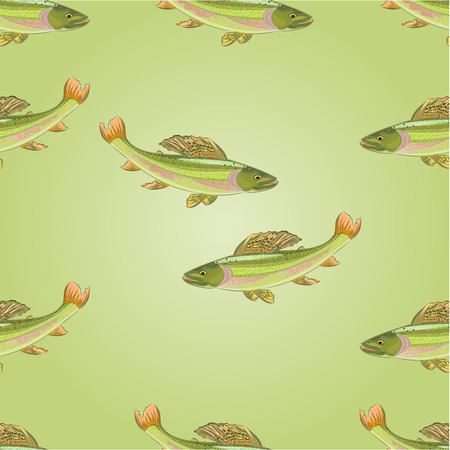 Seamless  texture salmon grayling carnivore jumps vector illustration