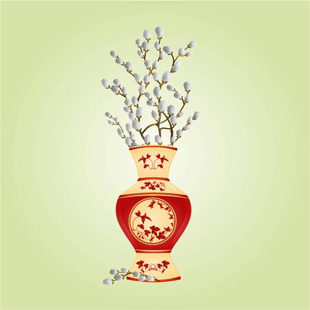 pussy willow: Vase porcelain with branch pussy willow spring easter background illustration