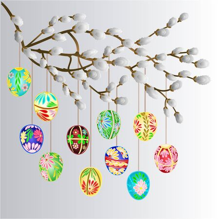 pussy willow: Pussy willow branch and multi colored easter eggs celebration background illustration