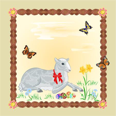 pasen schaap: Paaslam en narcis Pasen frame voor tekst vector illustratie