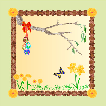 io: Frame easter eggs and a birch twig and butterfly place for text vector illustration Illustration
