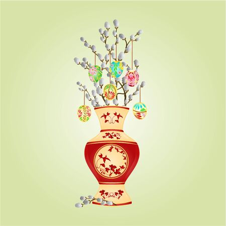 pussy willow: Vase with branch pussy willow and easter eggs easter background vector illustration Illustration