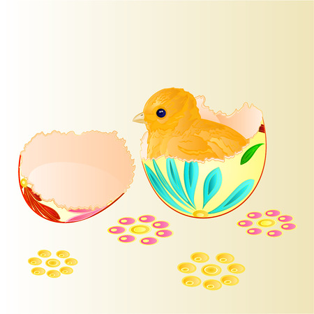 hatched: Easter chicken hatched from Easter eggs vector  easter backgrounds illustration Illustration