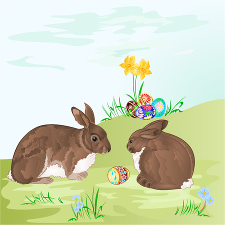 brown hare: Easter  rabbits  and easter eggs in the grass with flowers vector illustration