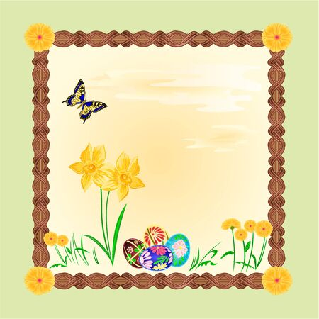daffodil: Daffodil and easter eggs with butterfly frame place for text vector illustration Illustration