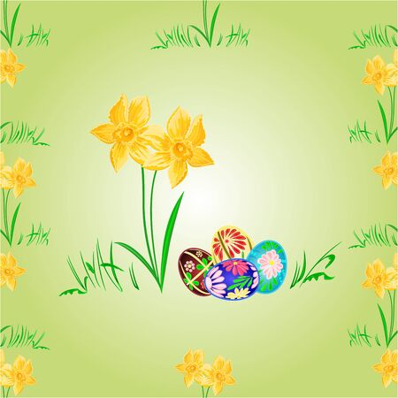 daffodil: Daffodil and easter eggs seamless texture spring background vector illustration