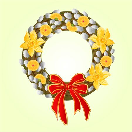 pussy willow: Easter wreath with pussy willow and Daffodil spring background vector illustration Illustration