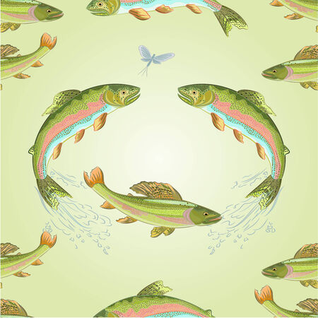 Seamless  texture  American trout and ephemera carnivore jumps vector illustration