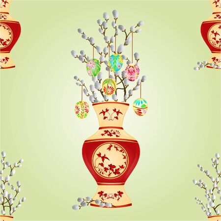 pussy willow: Seamless texture vase with branch pussy willow spring background vector illustration Illustration