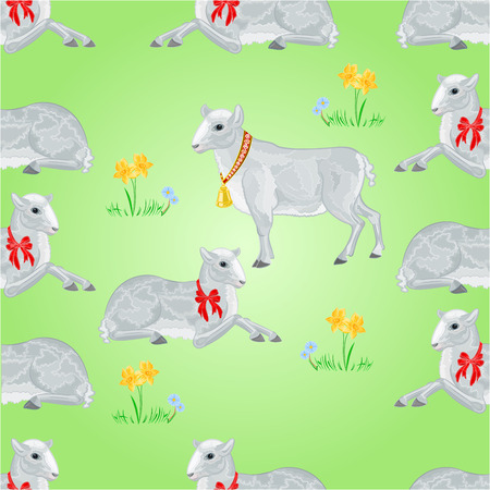 daffodil: Seamless texture easter lamb and sheeps and daffodil easter background vector illustration