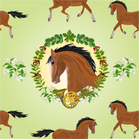 french horn: Seamless  texture dark Horse head of stallion leaves and french horn hunting theme vector illustration