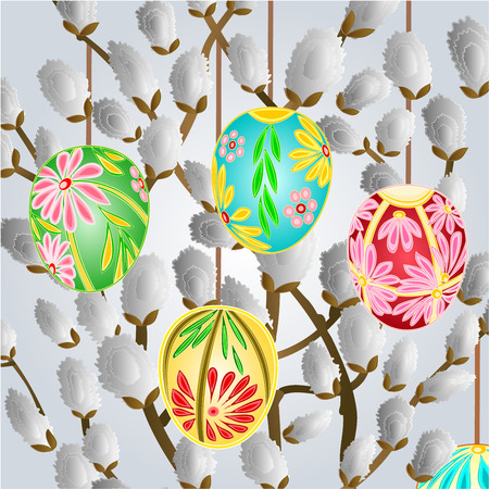 pussy willow: Pussy willow and easter eggs celebration background vector illustration