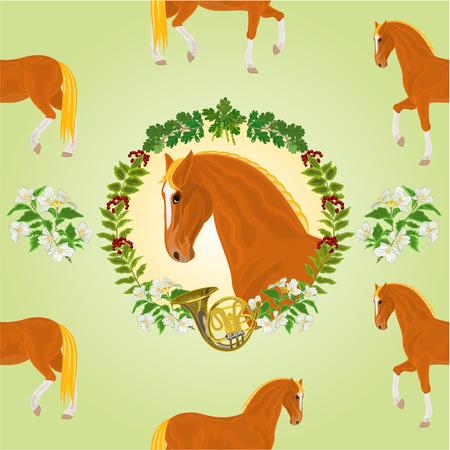 gelding: Sorrel horse  head of stallion leaves and french horn hunting theme vector illustration Illustration