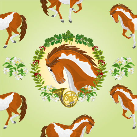 piebald: Seamless  texture piebald horse head of stallion leaves and french horn hunting theme vector  illustration Illustration