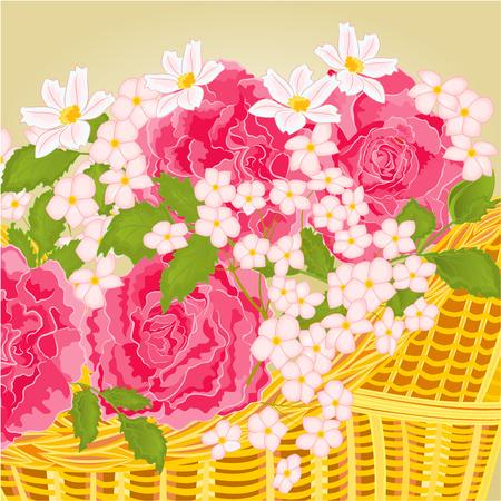 petites fleurs: Roses et de petites fleurs fond floral illustration vectorielle