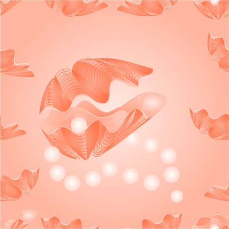 saltwater pearl: Seamless  texture   sea shells and pearl necklace pink background vector Illustration Illustration
