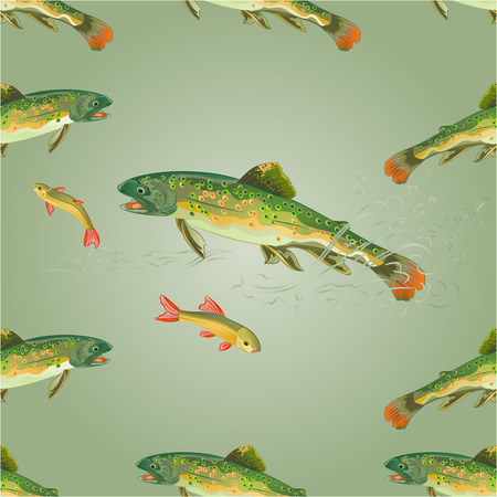 brook: Seamless  texture   brook trout  predator catch a fish  vector illustration