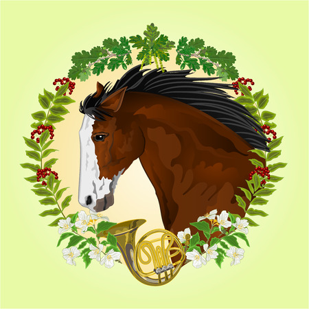 french horn: Dark brown Horse head of stallion leaves and french horn hunting theme vector illustration