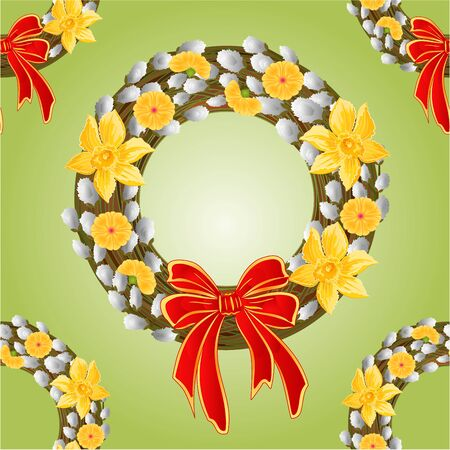 pussy willow: Seamless texture wreath with pussy willow and Daffodil background vector illustration