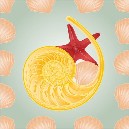 rn: Seamless  texture  shellfish and starfish background vector Illustration