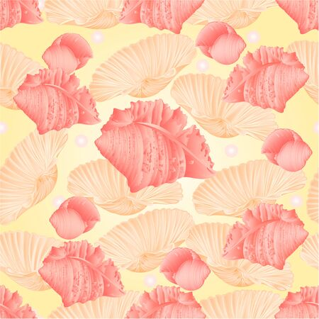 cockleshell: Seamless  texture   seashells and pearls pink background vector Illustration