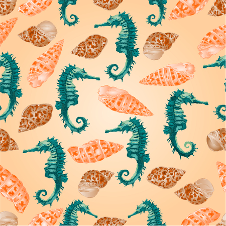 cockleshell: Seamless  texture   seashells and seahorse background vector Illustration