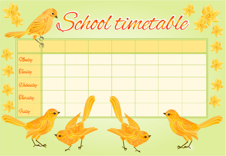 daffodil: School timetable with yellow birds and daffodil vector illustration