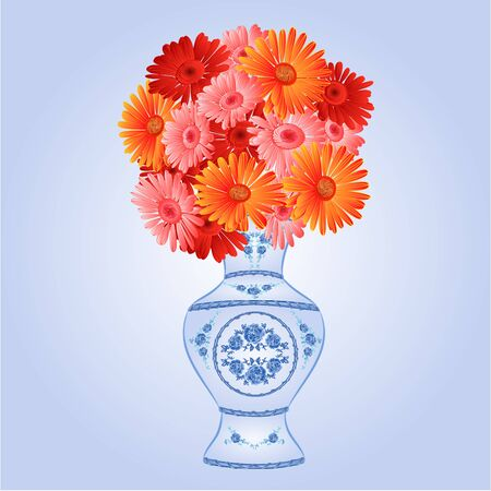 faience: Gerbera in faience vase festive blue background vector Illustration Illustration
