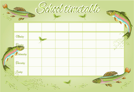 School timetable  with rainbow trout and ephemera  vector illustration Illustration