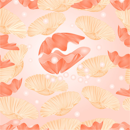 saltwater pearl: Seamless  texture   sea shells and pearls sea life background vector Illustration
