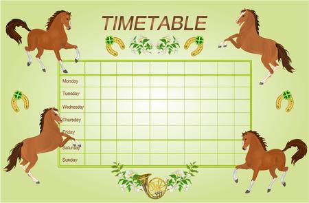 cronograma: Horarios horario semanal con los caballos marrones horario escolar ilustraci�n vectorial Vectores