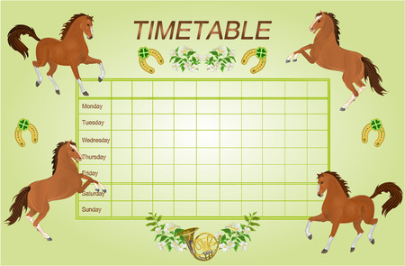 weekly: Timetable weekly schedule with brown horses school timetable vector illustration Illustration