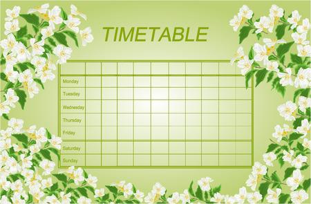 Horarios horario semanal con la escuela de jazmín ilustración vectorial calendario