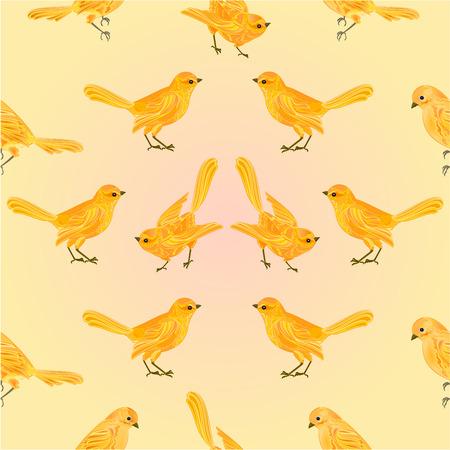 chickadee: Seamless texture golden birds yellow background vector illustration