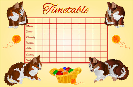 school schedule: Timetable weekly schedule with kittens school timetable vector illustration