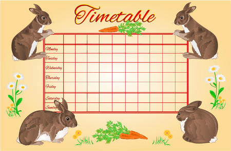 weekly: Timetable weekly schedule with rabbits school timetable vector illustration Illustration