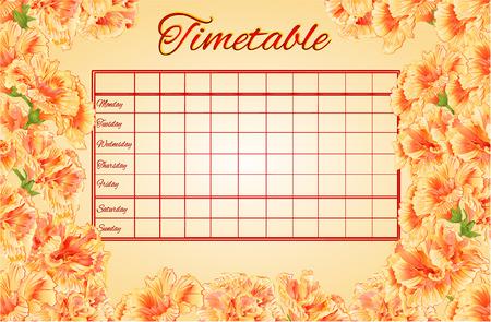 cronograma: Horarios horario semanal con la escuela hibisco ilustración vectorial calendario