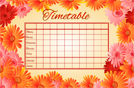 weekly: Timetable weekly schedule with gerber school timetable vector illustration