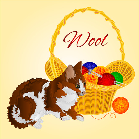 basket embroidery: Colors Cat and a basket with balls of wool vector  illustration