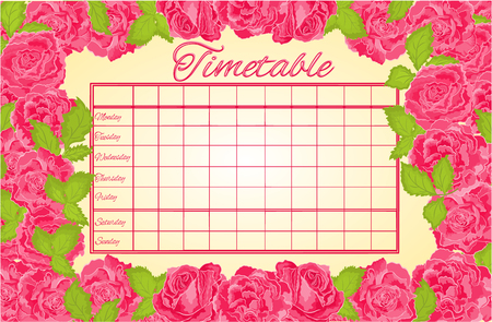 weekly: Timetable weekly schedule with pink roses school timetable vector illustration