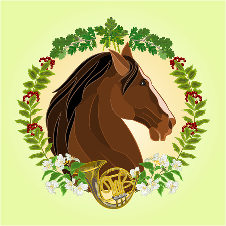 french horn: The head dark brown Horse leaves and french horn hunting theme vector illustration
