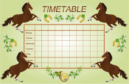 weekly: Timetable weekly schedule with dark brown horses school timetable vector illustration