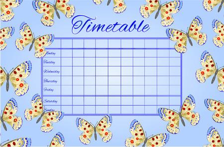 cronograma: Horarios mariposas escuela Parnassius ilustraci�n vectorial calendario Vectores