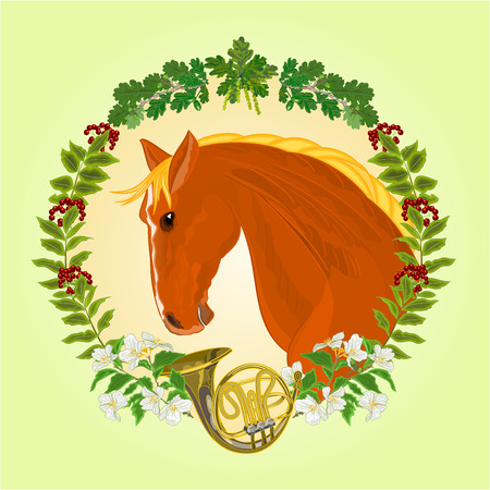 french horn: The head  red Horse leaves and french horn hunting theme vector illustration