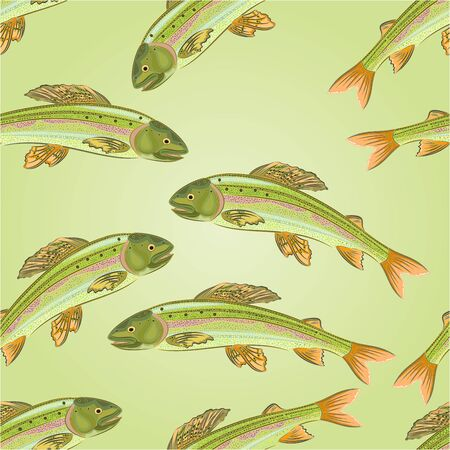 salmonidae: Seamless texture Grayling, salmon-predatory fish  vector illustration