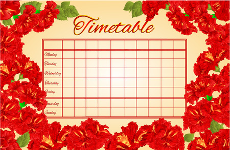 school schedule: Timetable weekly schedule with hibiscus school timetable vector illustration